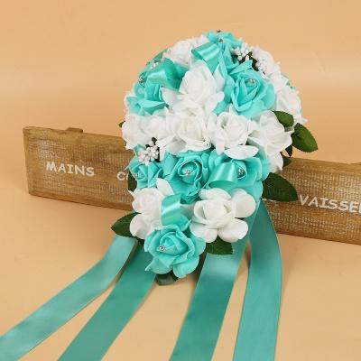 Bunter Seidenrosen-Hochzeits-Blumenstrauß mit Bändern_10