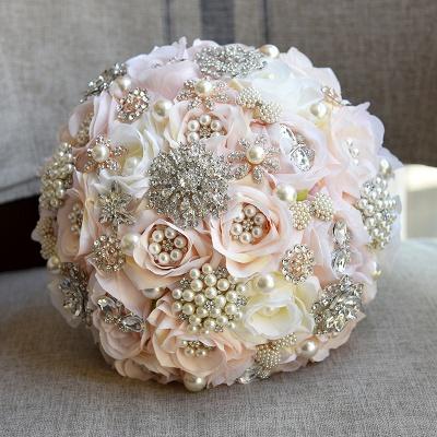 Beading de cristal brilhante Bouquet de noiva de seda rosa em branco e rosa_4