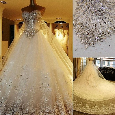 Gorgeous Bridal Dresses Sweetheart Appliques Crystal Beading  Elegant A Line  Wedding Gowns_3