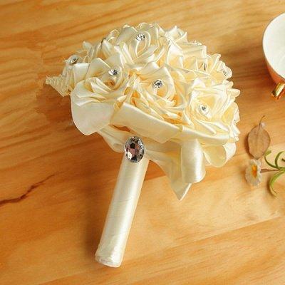 Bunter Seidenrosen-Hochzeits-Blumenstrauß mit Kristallen_2