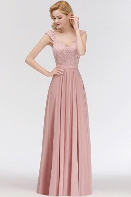 MARIA | A-line Long V-neck Sleeveless Lace Top Chiffon Bridesmaid Dresses_6