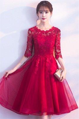 MARGARET | A-line Half sleeves Short Burgundy Appliques Tulle Homecoming Dresses_6