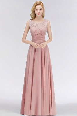 Lace Gorgeous Scoop Sleeveless Floor-Length Long Chiffon Bridesmaid Dress