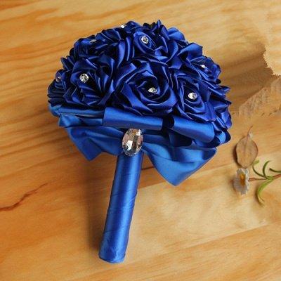 Bunter Seidenrosen-Hochzeits-Blumenstrauß mit Kristallen_6