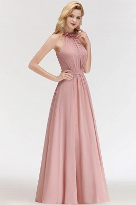 MARGUERITE | A-line Floor Length Halter Sleeveless Ruffled Chiffon Bridesmaid Dresses_5