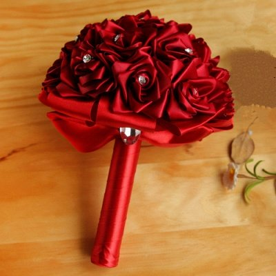 Bunter Seidenrosen-Hochzeits-Blumenstrauß mit Kristallen_5
