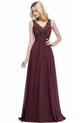 PATRICIA | Une ligne de v-cou sans manches longues appliques en mousseline de soie robes de bal avec des cristaux_1