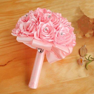Bunter Seidenrosen-Hochzeits-Blumenstrauß mit Kristallen_3