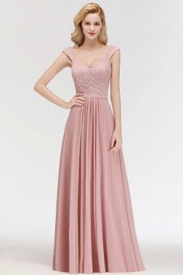 MARIA | A-line Long V-neck Sleeveless Lace Top Chiffon Bridesmaid Dresses_5