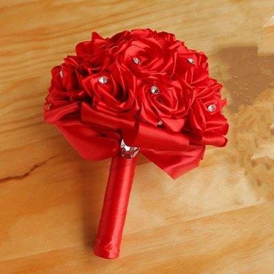 Bunter Seidenrosen-Hochzeits-Blumenstrauß mit Kristallen_4