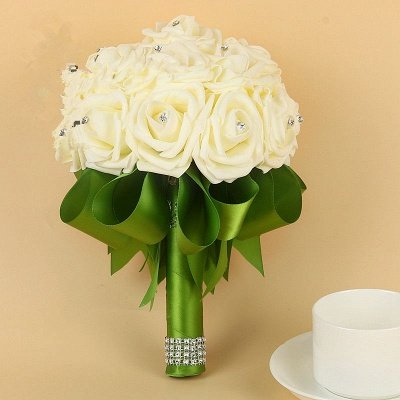 Ivory Silk Beading Rose Bouquet with Colorful Ribbons