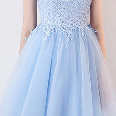 MARCIA | A-line Sleeveless Short Appliqued Top Tulle Homecoming Dresses_7