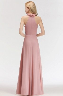 MARGUERITE | A-line Floor Length Halter Sleeveless Ruffled Chiffon Bridesmaid Dresses_3