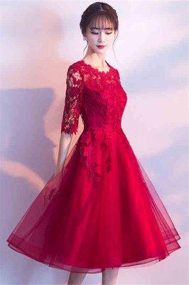 MARGARET | A-line Half sleeves Short Burgundy Appliques Tulle Homecoming Dresses_2