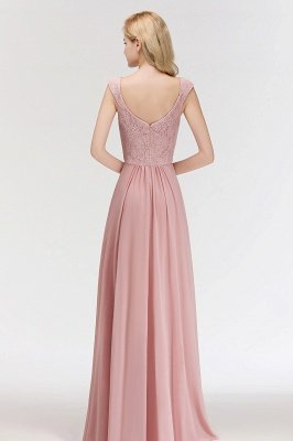 MARIA | A-line Long V-neck Sleeveless Lace Top Chiffon Bridesmaid Dresses_2