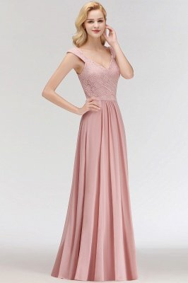MARIA | A-line Long V-neck Sleeveless Lace Top Chiffon Bridesmaid Dresses_7
