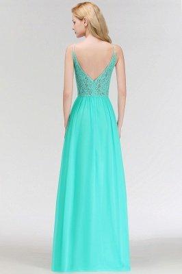 MADELEINE | Vestidos de dama de honor de espagueti largo con cuello de pico de una línea de encaje A-line_5
