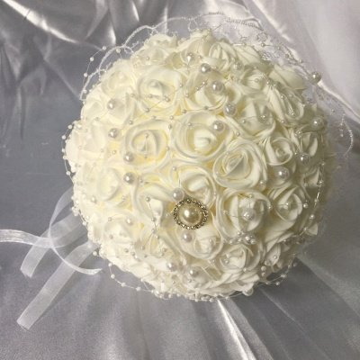 Silk Ivory Rose Wedding Bouquet with Lace ribbons
