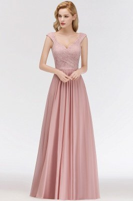 MARIA | A-line Long V-neck Sleeveless Lace Top Chiffon Bridesmaid Dresses_1