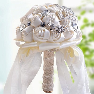 Colorful Silk Rose Crystal Beading Wedding Bouquet