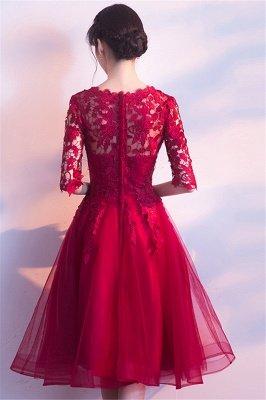 MARGARET | A-line Half sleeves Short Burgundy Appliques Tulle Homecoming Dresses_3