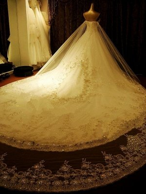 Gorgeous Bridal Dresses Sweetheart Appliques Crystal Beading  Elegant A Line  Wedding Gowns_4