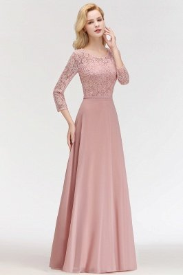 MARIAN | A-line Floor Length Lace Chiffon Bridesmaid Dresses with Sleeves_8
