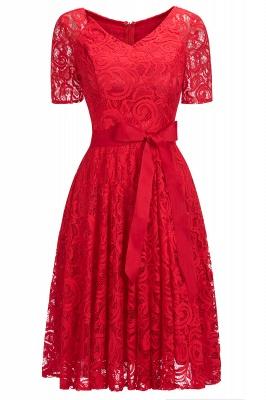 Элегантные платья с короткими рукавами V-образного вырезывания с поясом_9