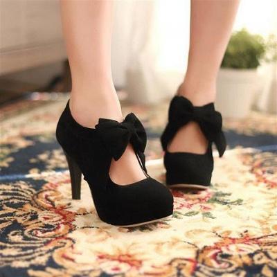 Круглый носок бабочка полый стилет каблук женские сапоги_6