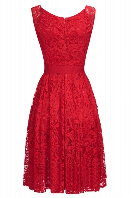 Simple Sleeveless A-line Red Lace Dresses with Ribbon Bow_11