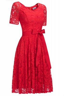 Элегантные платья с короткими рукавами V-образного вырезывания с поясом_10