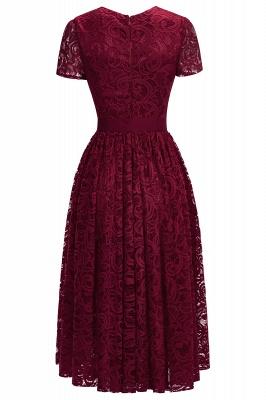 Manga corta Vestidos de encaje rojo con lazo de cinta_5