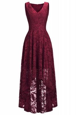 A-line Hi-lo V-neck Sleeveless Burgundy Lace Dresses_3