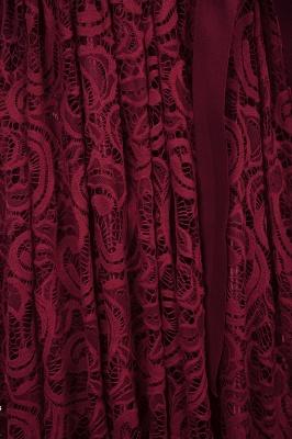 Manga corta Vestidos de encaje rojo con lazo de cinta_7