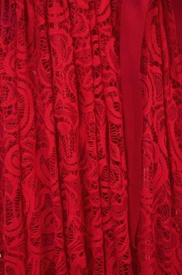 Manga corta Vestidos de encaje rojo con lazo de cinta_10