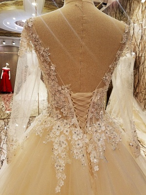 Ball Gown Long Sleeves Appliques Tulle Lace-up Wedding Dresses_4