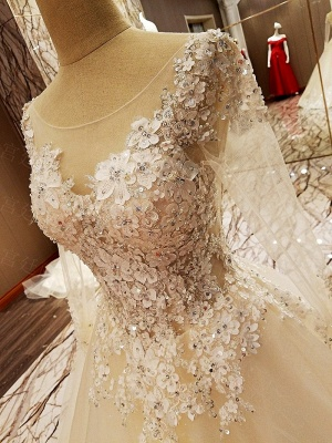 Ball Gown Long Sleeves Appliques Tulle Lace-up Wedding Dresses_12