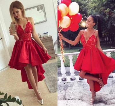 Cute Red High-low A-line Lace V-neck Homecoming Dress BA6902_4