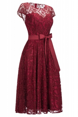Burgundy Lace Short Sleeves A-line Dresses with Bow_6