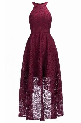Halter Sleeveless Sheath Asymmetrical Burgundy Lace Dresses_1