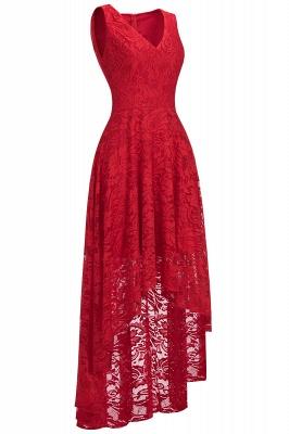 A-line Hi-lo V-neck Sleeveless Burgundy Lace Dresses_1