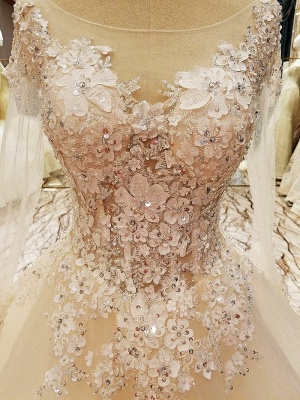Ball Gown Long Sleeves Appliques Tulle Lace-up Wedding Dresses_13