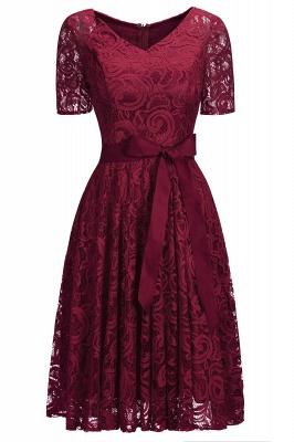 Элегантные платья с короткими рукавами V-образного вырезывания с поясом_5