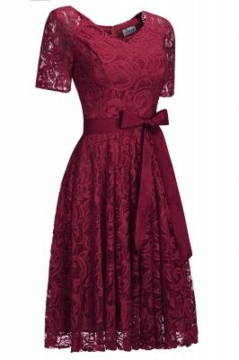 Элегантные платья с короткими рукавами V-образного вырезывания с поясом_12
