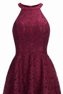 Halter Sleeveless Sheath Asymmetrical Burgundy Lace Dresses_6