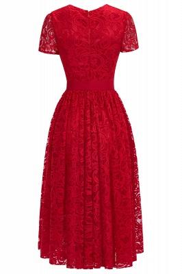 Manga corta Vestidos de encaje rojo con lazo de cinta_11