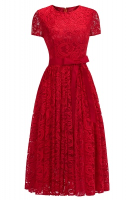 Manga corta Vestidos de encaje rojo con lazo de cinta_1