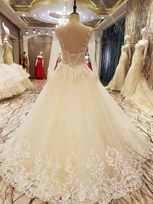 Ball Gown Long Sleeves Appliques Tulle Lace-up Wedding Dresses_9
