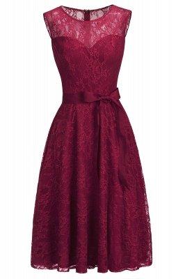 A-ligne sans manches robes de dentelle de Bourgogne avec noeud_5