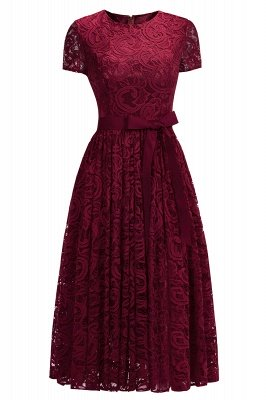 Short Sleeves Seath Red Lace Dresses with Ribbon Bow_3